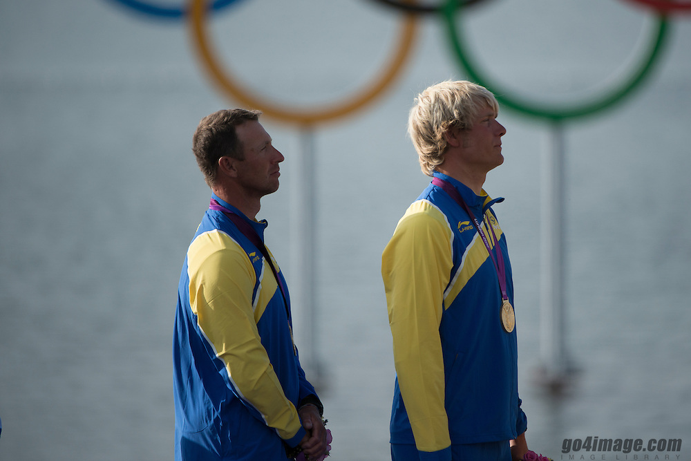 2012 Olympic Games London / Weymouth<br /> Medal Ceremony<br /> Loof Fredrik, Salminen Max, (SWE, Star)