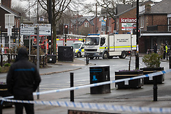 © Licensed to London News Pictures . 08/03/2020. Timperley, UK. A Royal Logistics Corps Bomb disposal unit and police attend after explosives were used during a cashpoint robbery at a branch of Co-Op on Stockport Road in Timperley . Photo credit: Joel Goodman/LNP