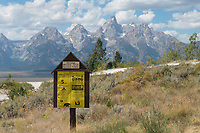 National forest camping sign outside of Grand Teton National Park
