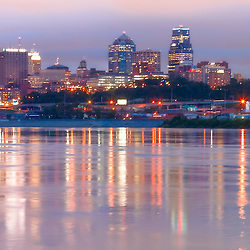 Panorama photo of downtown Kansas City, Missouri skyline, taken from Kaw Point Park in Kansas City, Kansas.