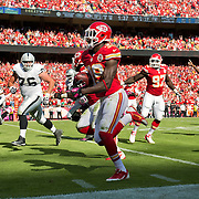 Kansas City Chiefs defensive back Husain Abdullah (39) ran back a 44-yard interception return for a touchdown in the fourth quarter against the Oakland Raiders in NFL action on October 13, 2013 at Arrowhead Stadium in Kansas City, Mo. The Chiefs won 24-7 to improve to 6-0.