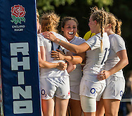 Celebrating Abby Dow's try, U20 England Women v U20 Canada Women at Trent College, Derby Road, Long Eaton, England, on 26th August 2016