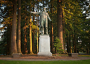 "Statue in Mt Tabor Park of Harvey W. Scott, 1838-1910.  Inscription states: ""Pioneer, Editor, Publisher and molder of public opinion in Oregon and the nation.""  He was editor of the The Oregonian newspaper from 1866-1872."