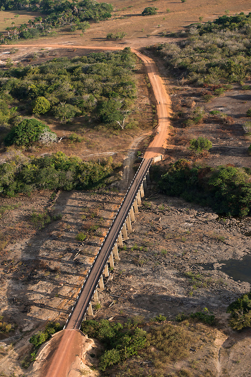 Bridge over Rupununi River<br /> Savanna <br /> south Rupununi<br /> GUYANA<br /> South America