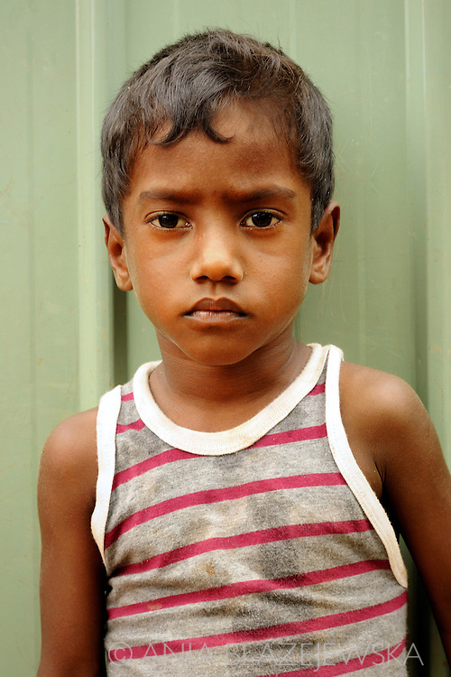 Sri Lanka, Negombo. Portrait of a boy.