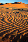 Southern Africa. Namibia. Sossusvlei in the Namib desert..Detail of ripples in the sand and dunes..©Zute Lightfoot.DVD0019