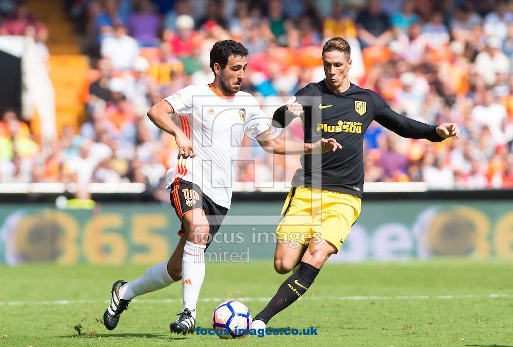 Daniel Parejo of Valencia CF and Fernando Torres of Atletico Madrid during the La Liga match at Mestalla, Valencia<br /> Picture by Maria Jose Segovia/Focus Images Ltd +34 660052291<br /> 02/10/2016