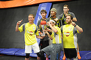Members of Team Awesome celebrate with the championship trophy after winning the Ultimate Dodgeball championship Monday June 6, 2016 in Levittown, Pennsylvania. The winner moves on to compete in Las Vegas for the national title. (Photo by William Thomas Cain)