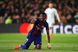 Ousmane Dembele of Barcelona reacts - Mandatory by-line: Matt McNulty/JMP - 14/03/2018 - FOOTBALL - Camp Nou - Barcelona, Catalonia - Barcelona v Chelsea - UEFA Champions League - Round of 16 Second Leg