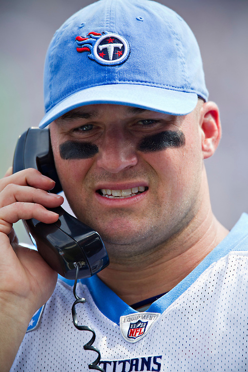 NASHVILLE, TN - SEPTEMBER 18:   Matt Hasselbeck #8 of the Tennessee Titans on the phone on the sidelines during a game against the Baltimore Ravens at LP Field on September 18, 2011 in Nashville, Tennessee.  The Titans defeated the Ravens 26 to 13.  (Photo by Wesley Hitt/Getty Images) *** Local Caption *** Matt Hasselbeck