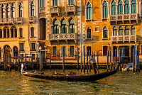 Gondolas ply the Grand Canal, Venice, Italy.