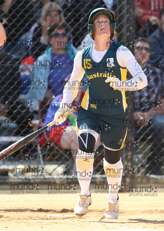 (Canberra, Australia---24 March 2012) Brenda de Blaes of Australia  in the Australia versus Japan women's softball game in the International Softball Challenge at the Hawker International Softball Centre in Canberra, Australia. Australia won the game 6-5 in the final inning. Copyright 2012 Sean Burges / Mundo Sport Images [seanburges@yahoo.com, seanburges@mundosportimages.com, www.mundosportimages.com].
