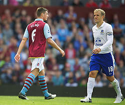 BIRMINGHAM, ENGLAND - Saturday, August 25, 2012: Aston Villa's Ciaran Clark walks off dejected after being sent off during the Premiership match against Everton at Villa Park. (Pic by David Rawcliffe/Propaganda)