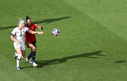 USA's Julie Ertz (left) and Spain's Jennifer Hermoso battle for the ball