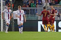 L'esultanza dopo il gol del 2-0 di Edin Dzeko Roma<br />Goal Celebration Roma<br />Roma 23-10-2018 Stadio Olimpico <br />Football Calcio Uefa Champions League 2018/2019 <br />AS Roma - CSKA Mosca <br />Foto Luca Pagliaricci / Insidefoto