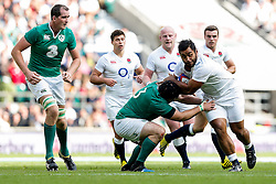 England replacement Billy Vunipolais tackled by Ireland Prop Mike Ross  - Mandatory byline: Rogan Thomson/JMP - 07966 386802 - 05/09/2015 - RUGBY UNION - Twickenham Stadium - London, England - England v Ireland - QBE Internationals 2015.