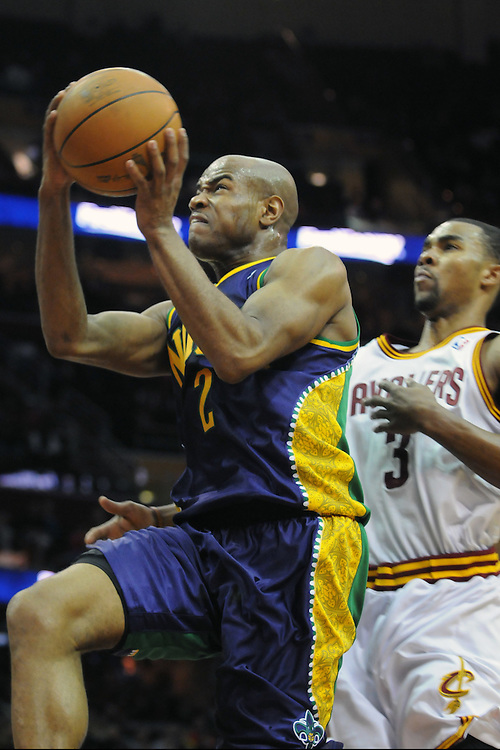 March 6, 2011; Cleveland, OH, USA; New Orleans Hornets point guard Jarrett Jack (2) drives past Cleveland Cavaliers point guard Ramon Sessions (3) during the third quarter at Quicken Loans Arena. The Hornets beat the Cavaliers 96-81. Mandatory Credit: Jason Miller-US PRESSWIRE