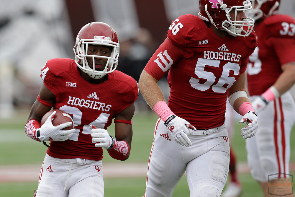 04 October 2014: Indiana Hoosiers cornerback Tim Bennett (24)  as the Indiana Hoosiers played North Texas in a NCAA college football game in Bloomington, IN.