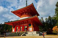 Japon, île de Honshu, région de Wakayama, Kumano Kodo, chemin du pelerinage, Koya San, Garan, temple bouddhique, pagode Dai to // Japan, Honshu, Wakayama, Kumano Kodo pilgrimage trail, Koya San, Garan, buddhist temple, Dai to pagoda