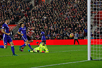 Football - 2016 / 2017 Premier League - Southampton vs Chelsea<br /> <br /> Southampton's Charlie Austin pounces onto a through ball to shoot under Thibaut Courtois of Chelsea only for the goal to be disallowed for offside at St Mary's Stadium Southampton <br /> <br /> COLORSPORT/SHAUN BOGGUST