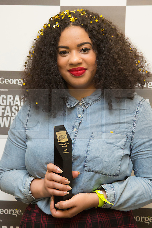 © Licensed to London News Pictures. 02/06/2015. London, UK. Hannah Wallace, 24, from Manchester School of Art, winner of the George Gold Award. Graduate Fashion Week 2015 concludes with the Gala Awards Show at the Old Truman Brewery, London. Photo credit : Bettina Strenske/LNP