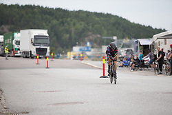 Leah Thorvilson (USA) of CANYON//SRAM Racing approaches the finish line during prologue of the Ladies Tour of Norway - a 3.4 km time trial, starting and finishing in Halden on August 17, 2017, in Ostfold, Norway. (Photo by Balint Hamvas/Velofocus.com)