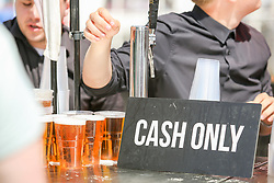 A Cash Only sign as Drinks are served at the bar outside as England play against Panama - Ryan Hiscott/JMP - 24/06/18 - Ashton Gate - Bristol, England - Fans Visit the World Cup Village at Ashton Gate for the England v Panama Group Match, Ashton Gate