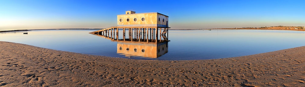 Panoramic of  historic life-guard bulding in Fuseta, at Ria Formosa conservation park, Algarve. Portugal