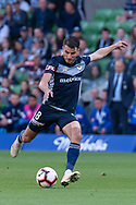SYDNEY, NSW - JANUARY 12: Melbourne Victory midfielder Terry Antonis (8) takes a shot at goal at the Hyundai A-League Round 13 soccer match between Melbourne Victory and Newcastle Jets at AAMI Park in VIC, Australia 12 January 2019. (Photo by Speed Media/Icon Sportswire)