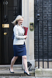 Downing Street, London, February 2nd 2016. Environment, Food and Rural Affairs Secretary Lizz Truss leaves No 10 after attending the weekly Cabinet meeting. ///FOR LICENCING CONTACT: paul@pauldaveycreative.co.uk TEL:+44 (0) 7966 016 296 or +44 (0) 20 8969 6875. ©2015 Paul R Davey. All rights reserved.