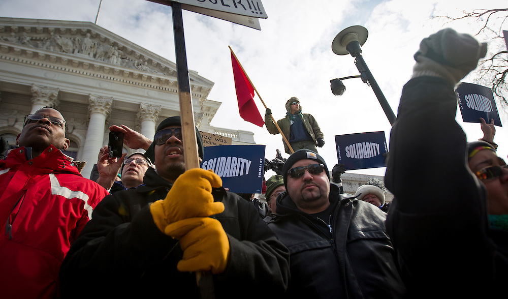 MADISON, WI — FEBRUARY 24: Workers, labor unions, and supporters rallied outside the Wisconsin State Capitol in opposition to a right-to-work bill being discussed in the state legislature on Tuesday, February 24.