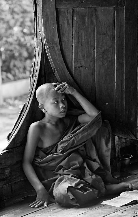 A novice at the Yan Shwe-Kgua temple in Myanmar.