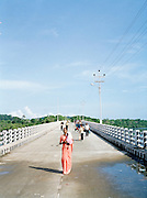Walking across the bridge between Middle and North Andaman Islands, damaged by the tsunami of 2004