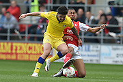 Rotherham United midfielder Grant Ward (17) and Alex Mowatt (10) of Leeds United  during the Sky Bet Championship match between Rotherham United and Leeds United at the New York Stadium, Rotherham, England on 2 April 2016. Photo by Ian Lyall.