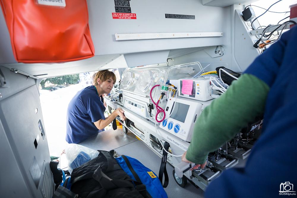 Good Samaritan Hospital's NICU taem trains with a helicopter at Good Samaritan Hospital in San Jose, California, on September 29, 2017. (Stan Olszewski/SOSKIphoto)