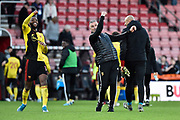 Watford manager Nigel Pearson and Nathaniel Chalobah (14) of Watford celebrate the 3-0 win at full time during the Premier League match between Bournemouth and Watford at the Vitality Stadium, Bournemouth, England on 12 January 2020.