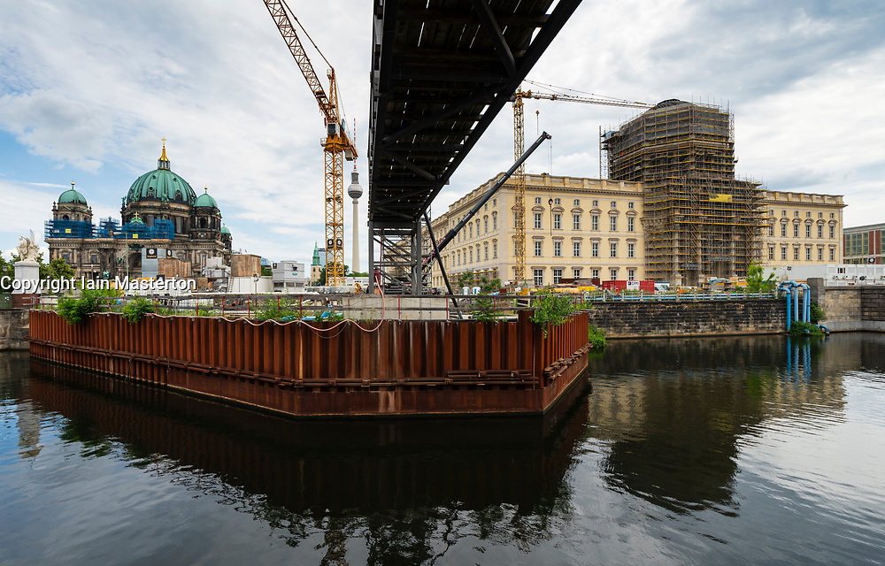 Berlin, Germany. 16 June, 2019. View of new Humboldt Forum super museum under construction at Museumsinsel in Berlin. The reconstructed Stadtschloss will house the new museum. The project is estimated to cost €600m and it has been announced that will not open this year as forecast. It will now open sometime in 2020.