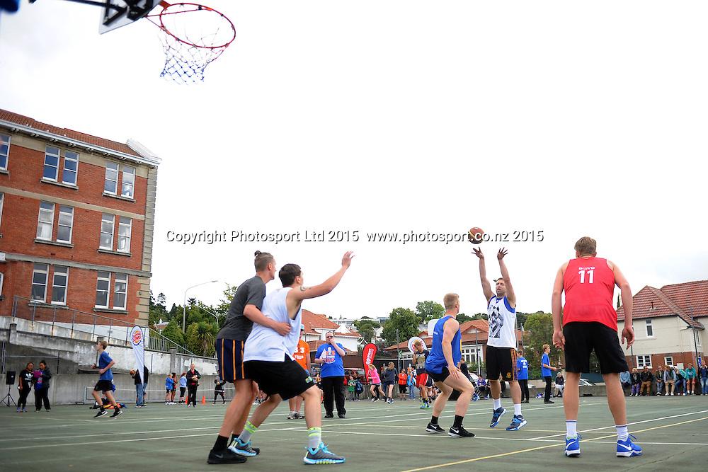 Burger King 3x3 National basketball action, held at Otago Girls High school, Dunedin, New Zealand, 15 February 2015. Credit: Joe Allison / Photosport.co.nz