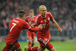 09-04-2014 GER: UEFA CL FC Bayern Munchen - Manchester United, Munchen<br /> Franck Ribery (FC Bayern Muenchen) und Arjen Robben (FC Bayern Muenchen) nach dessen Tor zum 3:1 // during the UEFA Champions League Round of 8, 2nd Leg match  <br /> **** NETHERLANDS ONLY ****