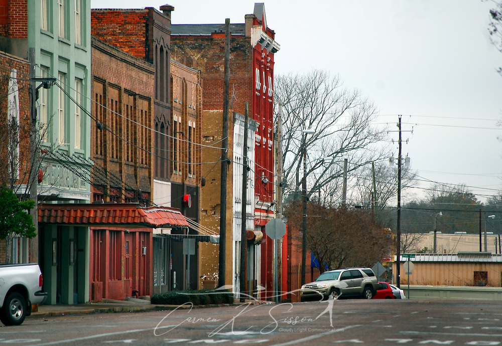 A colorful row of historic buildings, refurbished as shops and galleries, are pictured in downtown Meridian, Miss. on Jan. 9, 2011. Much of the city's historic charm and character can still be seen downtown today. (Photo by Carmen K. Sisson/Cloudybright)