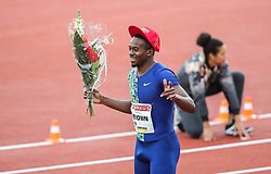 STOCKHOLM, May 31, 2019  Aaron Brown of Canada celebrates after the men's 200m at 2019 IAAF Diamond League in Stockholm, capital of Sweden, on May 30, 2019. Aaron Brown won the 1st place with 20.06 seconds. (Credit Image: © Xinhua via ZUMA Wire)