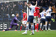 Charlton Athletic goalkeeper Dillon Phillips (1) looks dejected after conceding a goal from Patrick Bauer of Preston (not in the picture) during the EFL Sky Bet Championship match between Preston North End and Charlton Athletic at Deepdale, Preston, England on 18 January 2020.