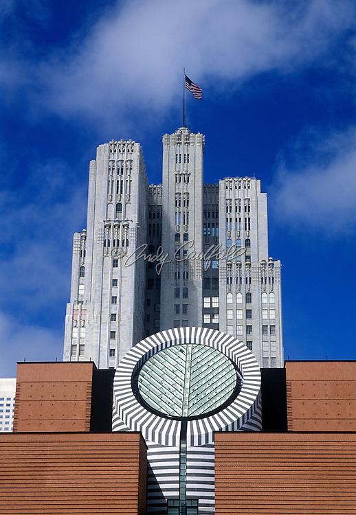 SFMOMA-San Francisco Museum of Modern Art exterior view, building designed by Mario Botta San Francisco, California