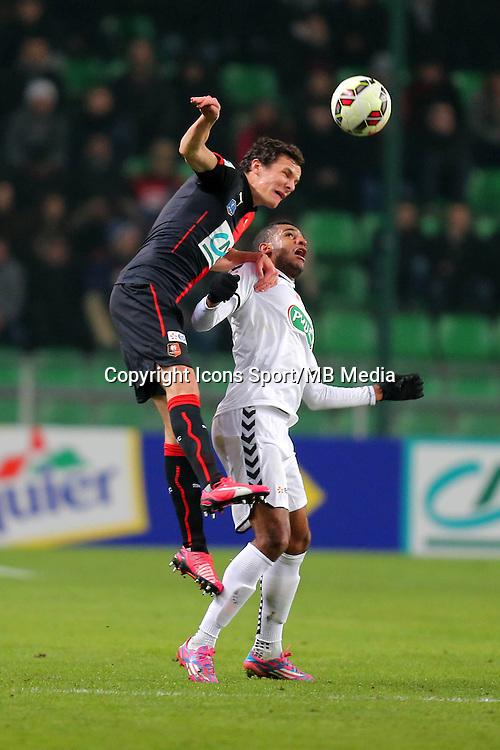 Romain DANZE / David NGOG - 22.01.2015 - Rennes / Reims - 1/16Finale Coupe de France-<br />Photo : Vincent Michel / Icon Sport<br /> *** Local Caption ***