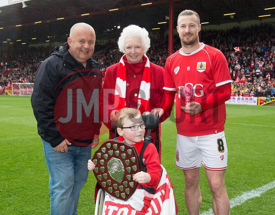 Oskar wins supporter of the year  - Photo mandatory by-line: Joe Meredith/JMP - Mobile: 07966 386802 - 03/05/2015 - SPORT - Football - Bristol - Ashton Gate - Bristol City v Walsall - Sky Bet League One