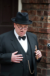 Winston Churchill reenactor and look-a-like Derek Herbert at Northallerton Wartime Weekend is a fund raising event that happens throughout the Yorkshire market town of Northallerton. .With help of volunteers and local business it has  been successful in raising money for the charities.Help for Heroes.Royal British Legion.Bomber Command Memorial Charity .Ben Hyde Memorial Fund.. ..16/17 June 2012.Image © Paul David Drabble