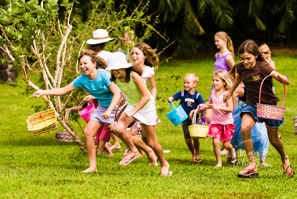 Children at Easter Egg Hunt, Kauai, Hawaii