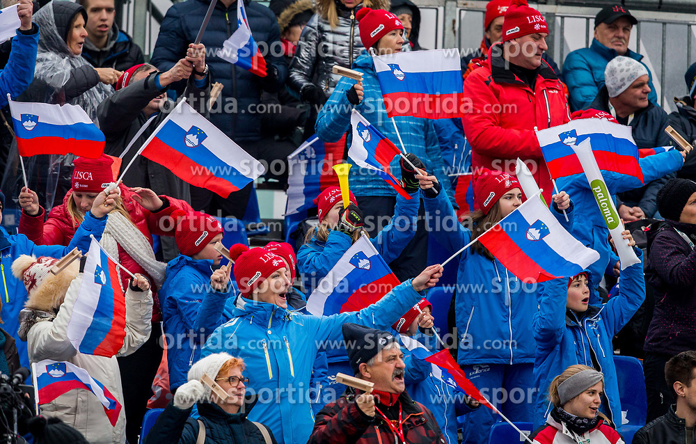 "Slovenian fans during 2nd Run of the FIS Alpine Ski World Cup 2017/18 7th Ladies' Slalom race named ""Golden Fox 2018"", on January 7, 2018 in Podkoren, Kranjska Gora, Slovenia. Photo by Ziga Zupan / Sportida"
