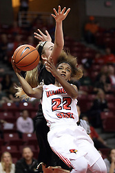 04 November 2015: Shakeela Fowler(22) looks for a shot around blocker Cece Rapp(34). Illinois State University Women's Basketball team hosted The Lions from Lindenwood for an exhibition game at Redbird Arena in Normal Illinois.