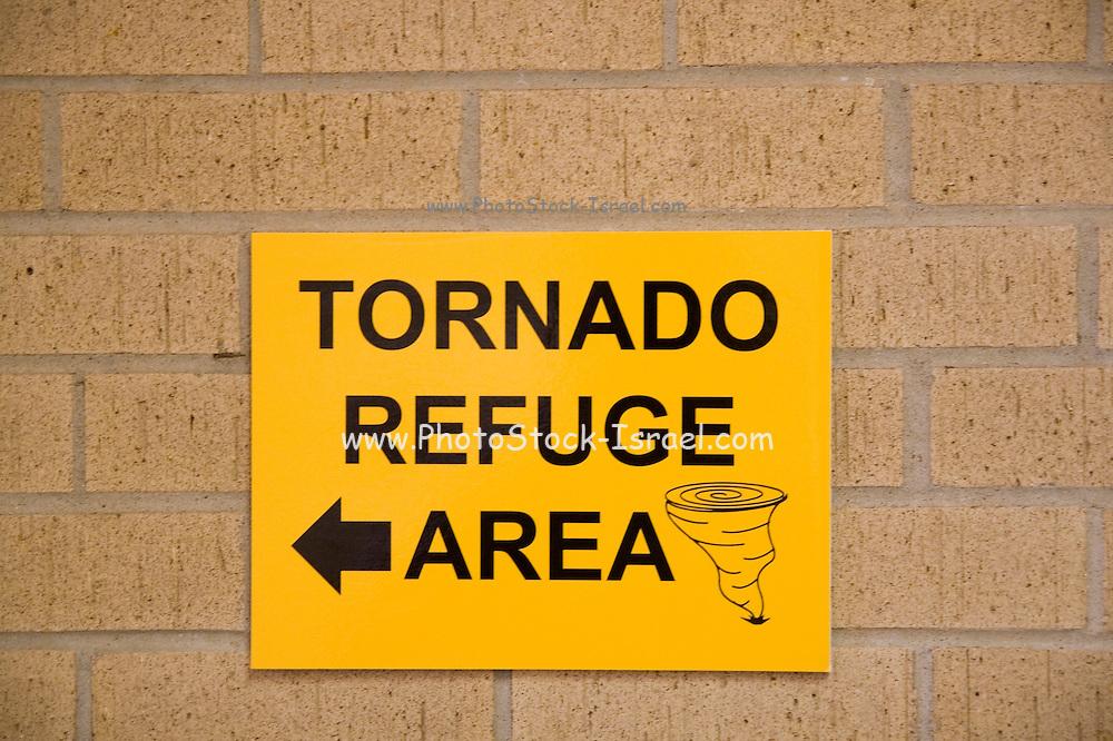 Kansas KS USA, Tornado Refuge Area sign